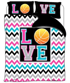 Monogrammed Love Basketball & Chevron  bedding  Twin by redbeauty