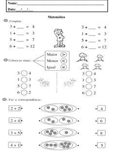 1.º ano fichas matemática