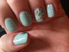 Spring nail art over gel polish.