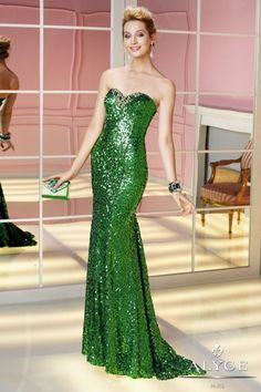 @roressclothes clothing ideas #women fashion green sparkle off shoulder gown