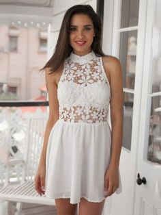 White Hollow Lace Stitching Chiffon Standing Collar Sleeveless Summer Mini Pleated Dress
