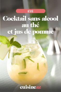 Ce cocktail sans alcool au thé et jus de pomme est une boisson pour toute la famille. #recette#cuisine#cocktail#sansalcool #the #jusdefruit #pomme Cantaloupe, Cocktails, Desserts, Food, Light Recipes, Chocolates, Vegetable Tian, Bartenders, Apple Juice