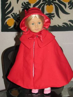Red Wool Colonial Cape Fits 18 inch American Girl Dolls