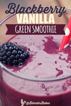 Blackberry Vanilla Green Smoothie recipe via Green Detox Smoothie, Healthy Green Smoothies, Good Smoothies, Smoothie Diet, High Protein Smoothies, Protein Shakes, Flaxseed Smoothie, Blackberry Smoothie, Fruit Smoothie Recipes