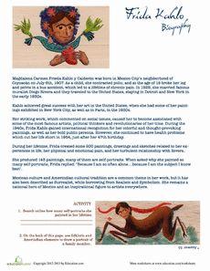 Printables Frida Kahlo Worksheets diego rivera coloring pages frida kahlo biography worksheet