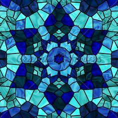 Stained Glass Six Pointed Star In Shades Of Blue.