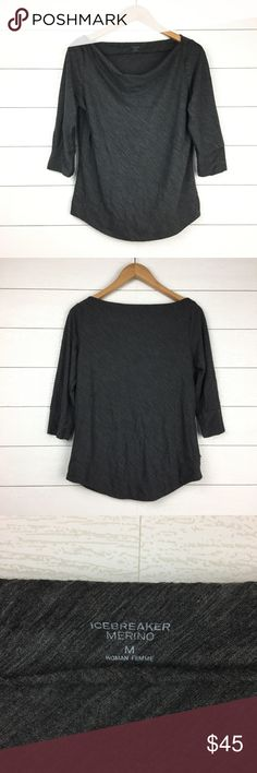 Icebreaker Merino Willow Gray Drape Boat Neck Top 90% wool, 10% nylon.  Icebreaker charcoal gray, slightly textured top.  ¾ length sleeves.  Boat neck with draped front.  Rounded hemline.   Perfect for being outdoors to keep you warm.  Excellent pre-owned condition. Icebreaker Tops Tees - Long Sleeve