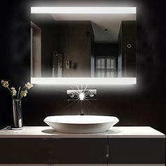 Bathroom Mirror Lights, Frameless Mirror, Mirror With Lights, Bathroom Lighting, Mirrors And Lenses, Led Band, Licht Box, Mirror Shapes, Wall Mounted Mirror