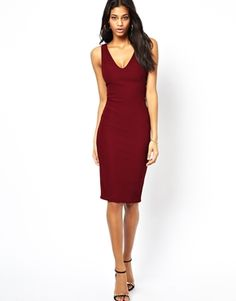 ASOS Textured Deep Plunge Tabbard Bodycon