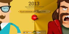 2013 was the year of the battle between Flat Design & Realism (or skeuomorphism). Based on that inTacto created an interactive card with an epic story. Design Web, Flat Design, Design Plat, Web Design Awards, Web Design Examples, Design Trends, Graphic Design, Design Ideas, Landing Page Inspiration