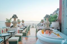 Positano, Amalfi - Restaurant Recs! This one is Le Sirenuse Hotel champagne bar and restaurant. (Drinks are pricey but worth it for the view!)