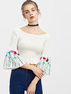 bd8f6a2584 Embroidered Bell Sleeve Smocked Top My Shopping List