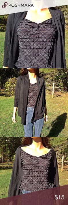 """New Direction Black Blouse Size Small 3/4 Sleeves 17"""" Bust armpit to armpit 17"""" (34"""") Length 26"""" Waist 16"""" (32"""") Polyester 99% Spandex 1% Orders ship within 1 Business Day excluding weekends. Thanks For Shopping with Dress To Impress Thrift & Boutique.  Have A Great Day New Direction Tops Blouses"""
