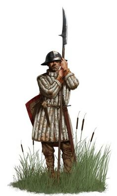 Town guard armed with a Bill; an ideal weapon for unhorsing a knight, or chopping at range an oncoming attacker.