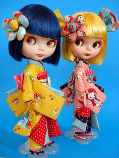 Blythe dolls in kimonos by Jam Fancy, photo by Super Junk