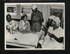 """Classes in needlework and knitting are held for women attending the Maseno Social Centre, Kenya."" via The National Archives UK"