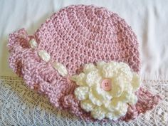 baby hat crocheted in Victorian Rose Great by JunesLoomsEtc, $19.95