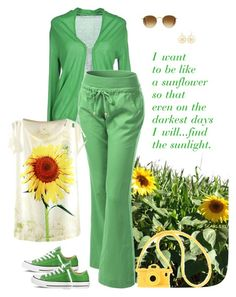 """""""I'm just a girl... (even in a wheelchair.) Finding the Sunlight"""" by mrs-scarlett ❤ liked on Polyvore featuring jucca, Converse, Moschino and Ray-Ban"""