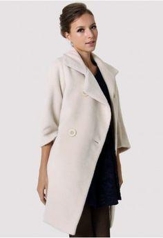 Ivory Mid-Sleeve Pea Coat