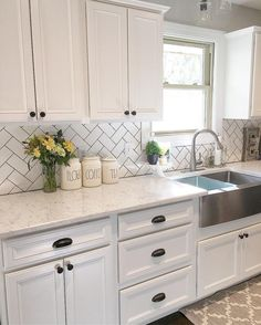 Wine fridge, white cabinets, grey counters | Home Sweet Home ...