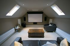 Theater room in the attic!  Perfect!!  No need to worry about not having enough light!