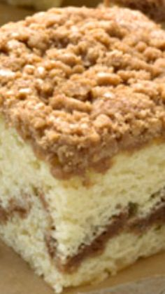 Starbucks Coffee Cake Recipe ~ Each slice has a layer of cinnamon streusel swirled within it and a crumble top that deliciously balances sweet cinnamon spice with crunchy goodness.