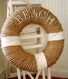 Nautical Rope Wreath Ideas featured on Completely Coastal: http://www.completely-coastal.com/2016/06/nautical-rope-wreaths.html