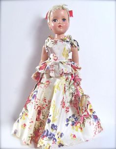 """Nancy Lee Doll by Arranbee with Wrist Tag 20"""" in Original Floral Gown Vintage 1950s"""