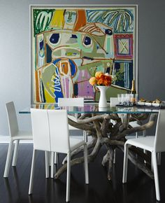 Contemporary Condo Dining Room Table And Art
