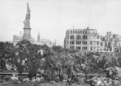 A pile of bodies awaits cremation after the firebombing of Dresden, February…