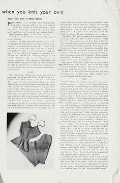 Free Vintage 1940s Underwear Knit Pattern / Tutorial