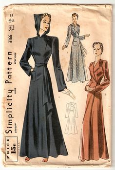 WARTIME 36 Inch Bust Vintage Sewing Pattern - Hooded Robe or Housecoat from 1939 - Simplicity 3166. $39.75, via Etsy.
