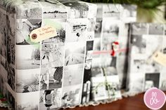 Make your own wrapping paper with Instagram pictures and printing at staples.