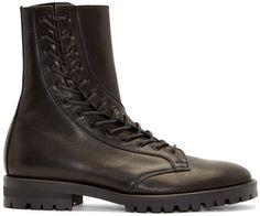 Yohji Yamamoto Buffed Leather Curved Lace-Up Boots