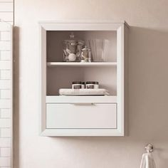 Scott Living Robinson 24-in W x 32-in H x 10-in D White Bathroom Wall Cabinet at Lowes.com Bathroom Wall Cabinets, Bathroom Medicine Cabinet, White Doors, Lowes Home Improvements, White Bathroom, Bath Accessories, Wood Veneer, Adjustable Shelving, Storage Spaces