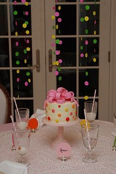 polka dot party--lots of great ideas.  The dots are just office supply circle stickers on fishing line.