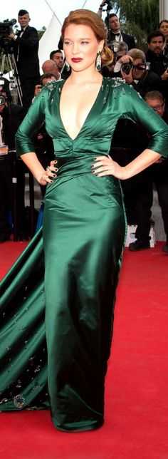 Red Carpet - The 67th Annual Film Festival Cannes 2014 - Léa Seydoux in green taffeta Prada dress at the premiere of 'Saint Laurent' 17th May, 2014