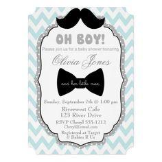 Little Man Mustache Baby Shower Invitation custom