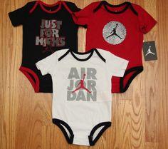 Air Jordan Baby Boy 3 Pc Bodysuit Set~Red, White & Black~Jumpman~Just For Kicks #Jordan #Everyday