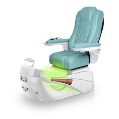 Luminous pedi-spa shown in Neptune Ultraleather cushion, White Pearl base, Aurora LED Color-Changing bowl (shown in green)
