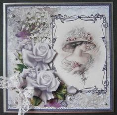 lady in the large rose hat card on Craftsuprint designed by Angela Wake - made by Davina Rundle - 3d Sheets, Rose Hat, Romantic Shabby Chic, Picture Cards, Vintage Cards, Decoupage, Mixed Media, Card Making, Scrapbook