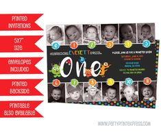 Get the timeline photo monster birthday invitation you've been looking for, for your little boys first birthday party, featuring monthly photos from the first year in a fun chalk monster bash theme. This 1st birthday boy invitation is professionally printed on 100lb gloss cover