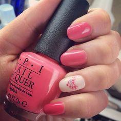 Valentines day nail art, heart, polka dots, pink, white