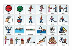 Several boards of words grouped by category- actions, activities, places, etc Autism Help, Rainbow Writing, Pe Teachers, Animal Adaptations, Starting School, Special Kids, Autism Resources, Swim Lessons