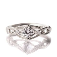Celtic Engagement Ring 18K White Gold and by DoronMeravWeddings