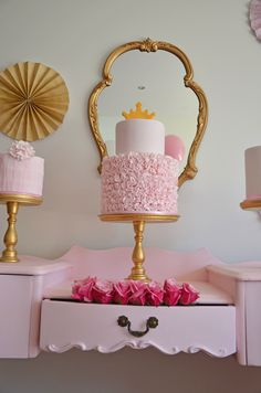 Lovely princess tea party birthday cake! See more party ideas at CatchMyParty.com. #princess #girlbirthday #birthdaycake