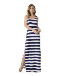 Vestido Longo Listrado Fenda Azul « Lunender Store