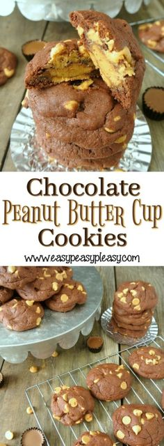 The easiest most delicious 5 ingredient Chocolate Peanut Butter Cup Cookies using a cake mix.