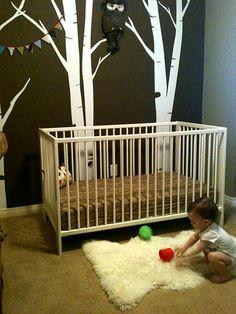 sheepskin rug - hunter's nursery - woodland theme