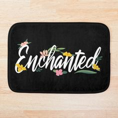 'Beautiful Enchanted Floral Calligraphy' Bath Mat by imageren